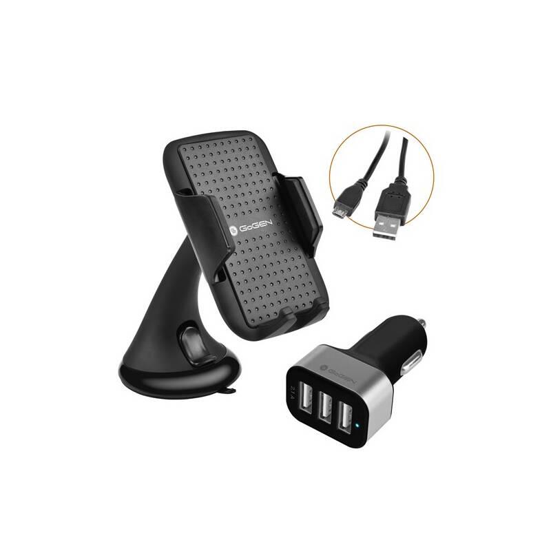 Držiak na mobil GoGEN 3 v 1, držák na mobil, autonabíječka, mikro USB kabel, kroucený, 1,2m (GOGGSMCARKIT01) čierne
