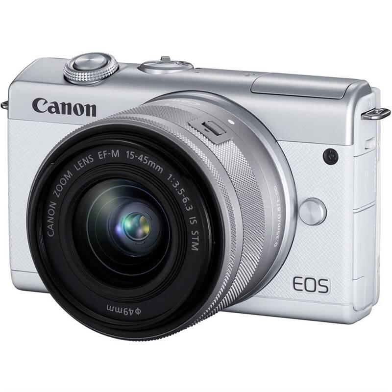 Digitálny fotoaparát Canon EOS M200 + EF-M 15-45 IS STM (3700C010) biely Brašna na foto/video Canon Holster HL100 (1575C001) čierna + Doprava zadarmo