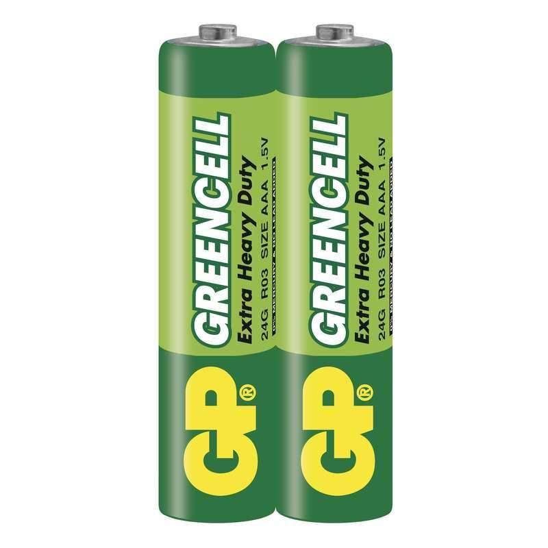 Baterie zinkochloridová GP Greencell AAA, R03, fólie 2ks (GP 24G)