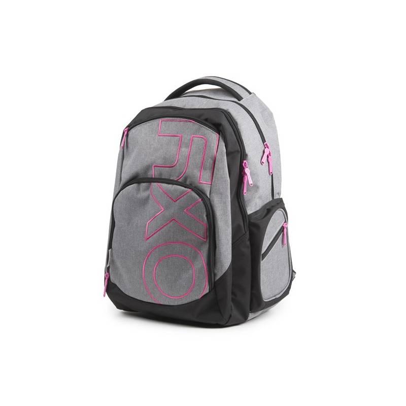 Batoh školský P + P Karton OXY Style Grey Line Pink študentský Sáček na přezůvky P + P Karton OXY Neon Dark Blue (zdarma)