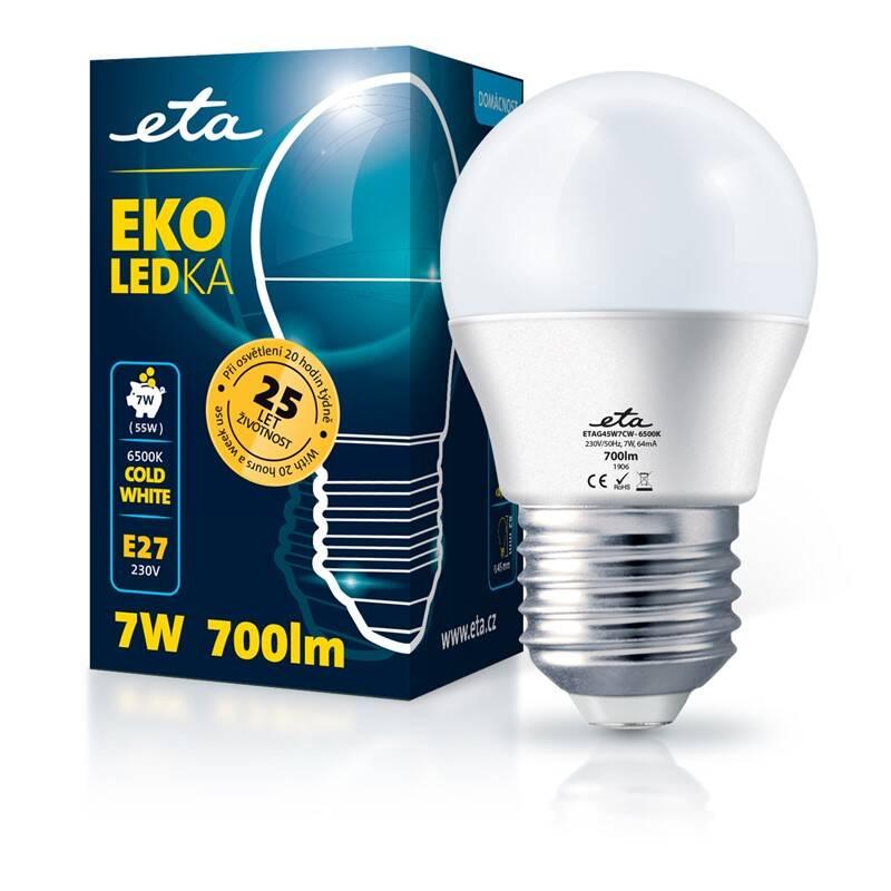LED žiarovka ETA EKO LEDka mini globe 7W, E27, studená biela (G45W7CW)