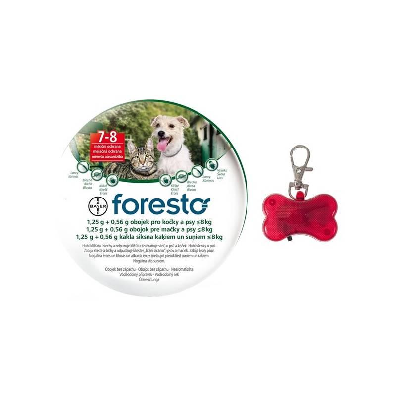 Obojok Bayer Foresto 38 cm pro kočky a malé psy + svítící přívěšek Svítící přívěšek Bayer Foresto kost - červený (zdarma)