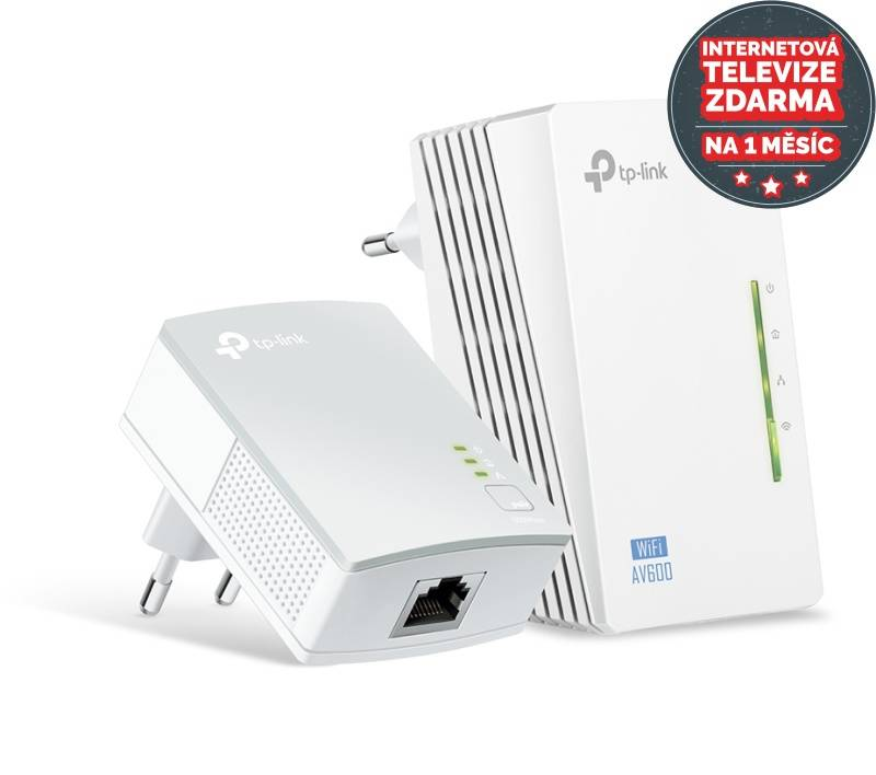 Sieťový rozvod LAN po 230V TP-Link TL-WPA4220 KIT + IP TV na 1 měsíc ZDARMA (TL-WPA4220KIT) biely