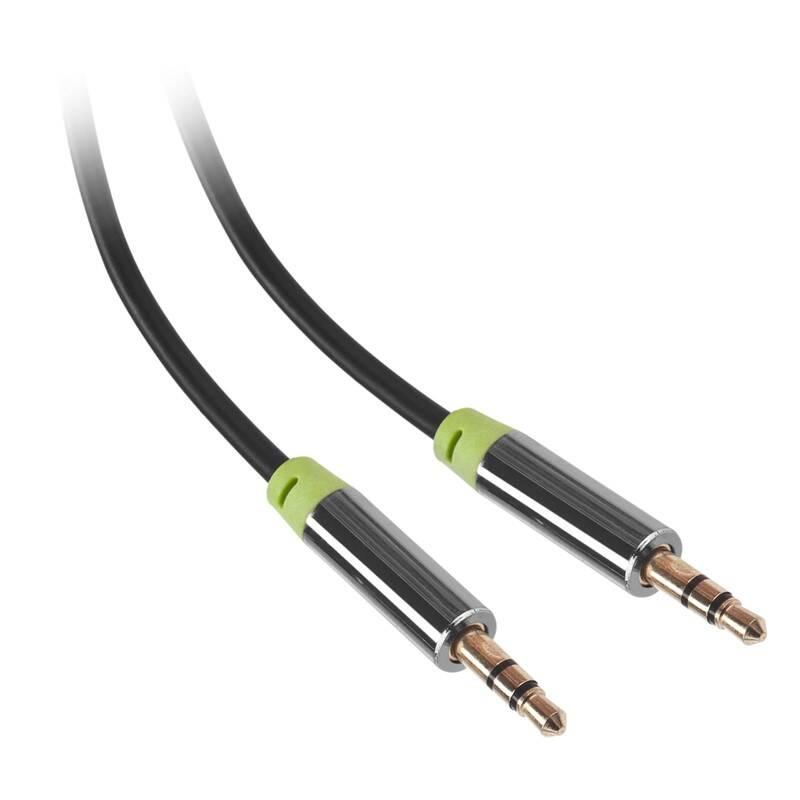 Kabel GoGEN Jack 3,5mm, 5m, pozlacené konektory (JACK500MM01) černý