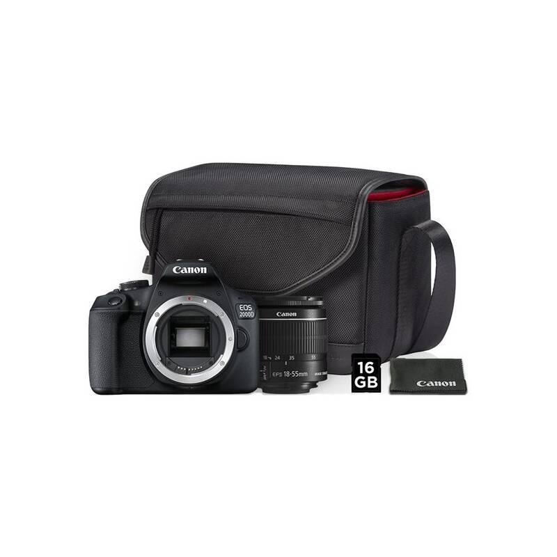 Digitálny fotoaparát Canon EOS 2000D + 18-55 IS II + SB130 + 16GB karta (2728C013AA) čierny + Doprava zadarmo