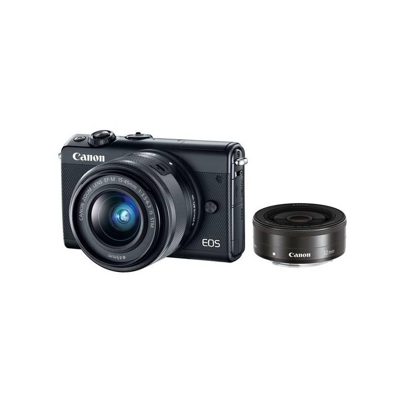 Digitálny fotoaparát Canon EOS M100 + EF-M 15-45mm IS STM + EF-M 22mm STM čierny + Doprava zadarmo