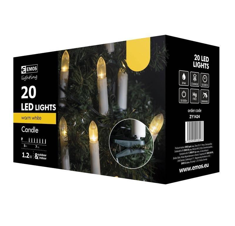 Vianočné osvetlenie EMOS 20 LED, 7m, řetěz (svíčky), teplá bílá, i venkovní použití (1534142040)