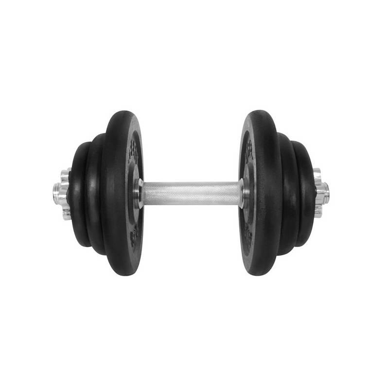 Hriadeľ jednoručný (30mm) LIFEFIT nakládací jednoruční 20 kg, 6x kotouč - lakované kotouče čierna/kov