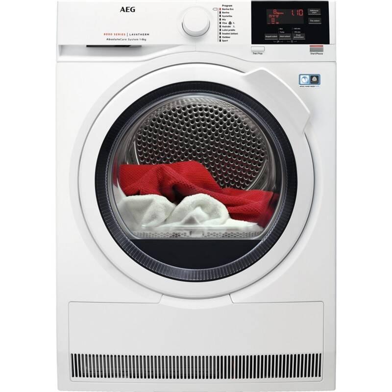 Sušička prádla AEG AbsoluteCare® T8DBG68WC bílá barva + AEG 10 let záruka na invertor motor