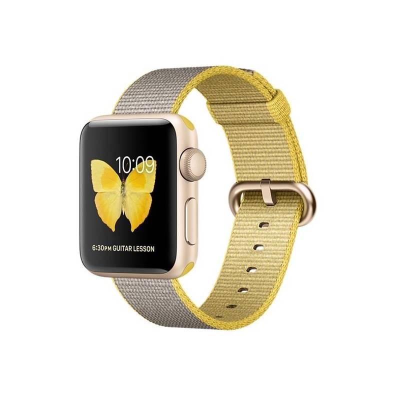 Chytré hodinky Apple Watch Series 2 38mm pouzdro ze zlatého hliníku – žlutý / světle šedý řemínek z tkaného nylonu (MNP32CN/A) + Doprava zadarmo