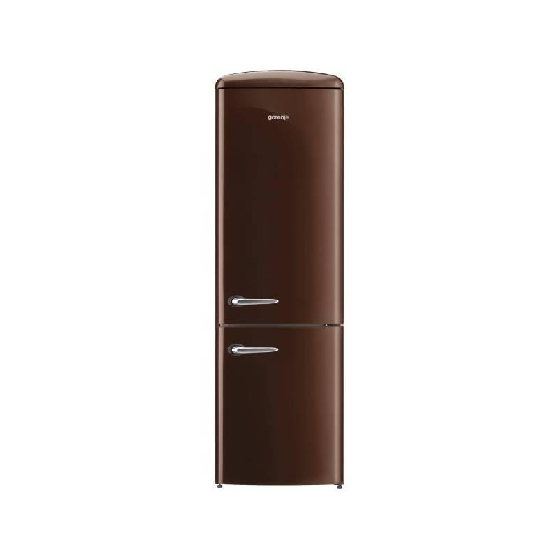 Kombinácia chladničky s mrazničkou Gorenje Retro ORK192CH hnedá + Doprava zadarmo
