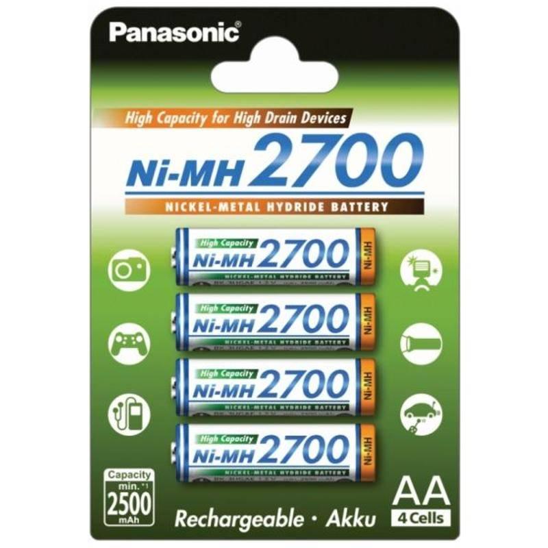 Batéria nabíjacie Panasonic AA, HR06, 2700mAh, Ni-MH, blistr 4ks (BK-3HGAE/4BE)