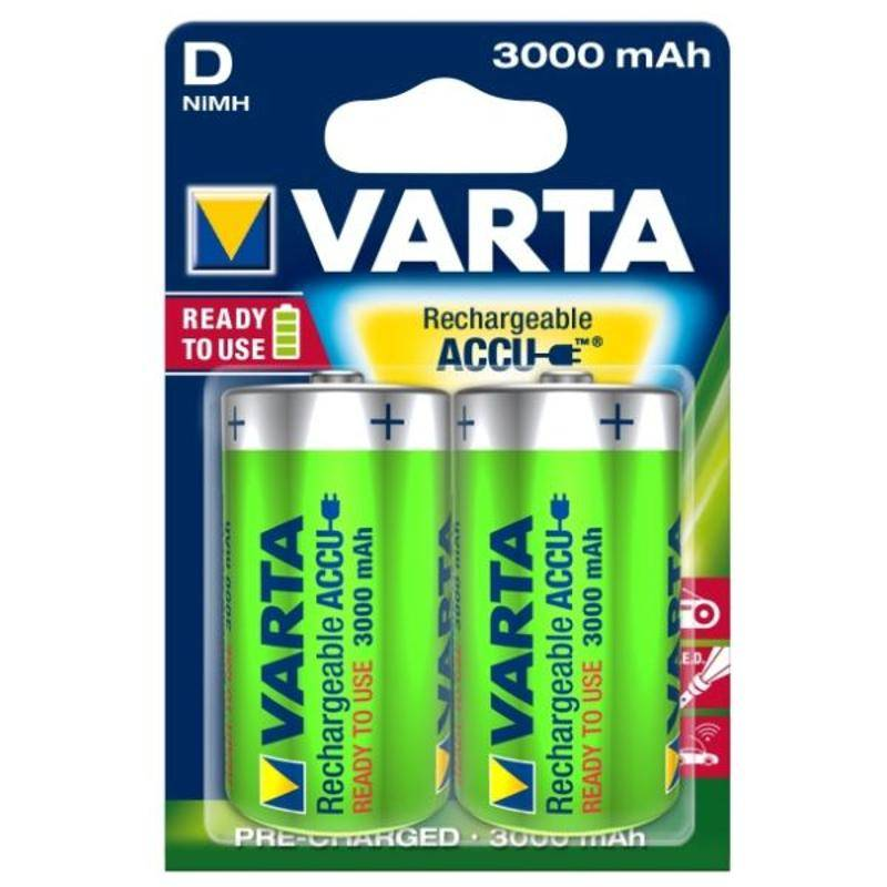 Batéria nabíjacie Varta Rechargeable Accu, D, 3 000 mAh, 2 ks