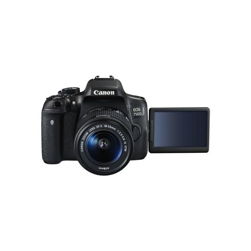 Digitálny fotoaparát Canon EOS 750D + 18-55 IS STM + ramenní popruh JOBY Zdarma čierny + Doprava zadarmo