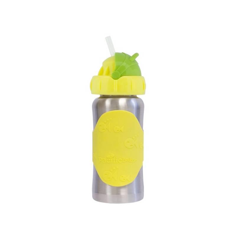 Detská fľaša Pacific Baby GroGrow nerezová ekololáhev s brčkem 300ml žltá