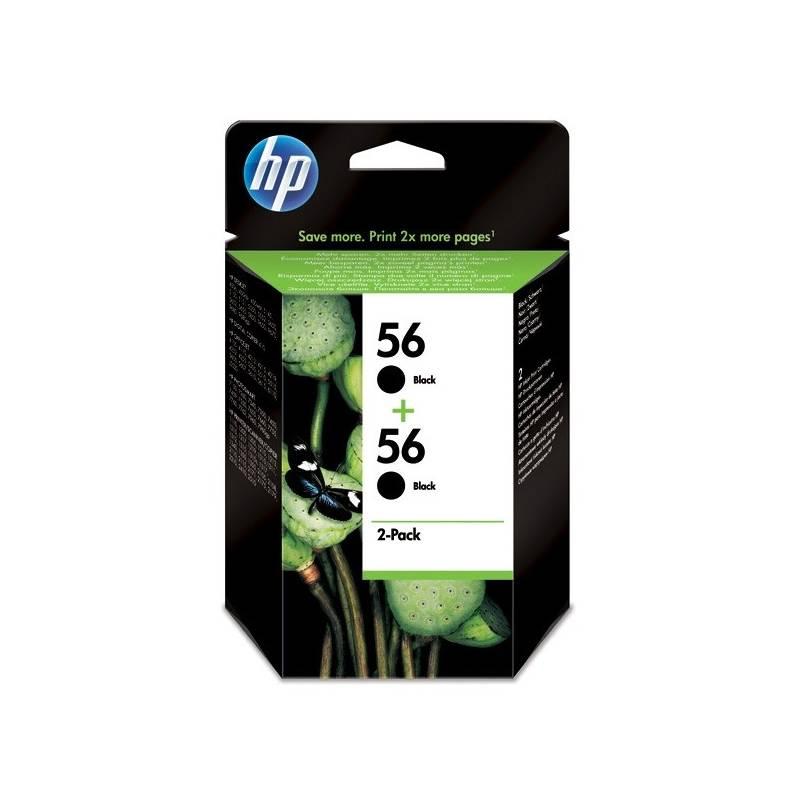 Inkoustová náplň HP No. 56, *19ml, 900 (2x450) stran, 2 pack - originální (C9502AE) černá