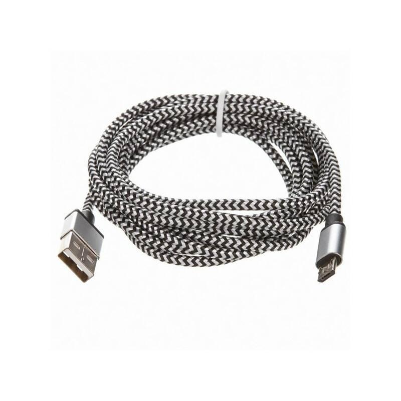 Kábel CellFish USB/micro USB, 2m (PLUSBKABELSILVER2M) strieborný
