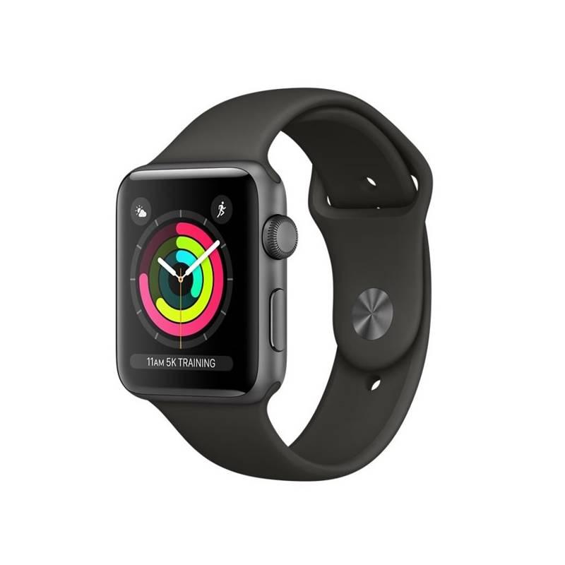 Chytré hodinky Apple Watch Series 3 GPS 42mm pouzdro z vesmírně šedého hliníku - šedý sportovní řemínek (MR362CN/A)