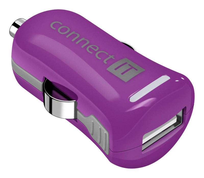 Adaptér do auta Connect IT InCarz COLORZ, 1x USB, 2,1A (V2) (CI-1127) fialový