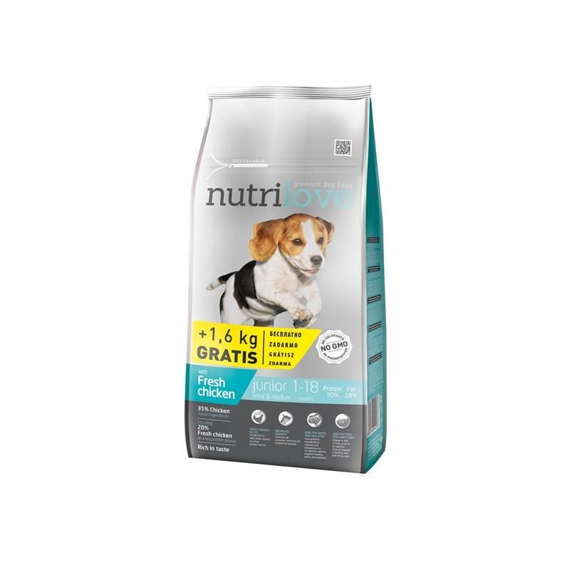 Granule Nutrilove Dog dry Junior S-M fresh chicken 8kg + 1,6 kg ZDARMA
