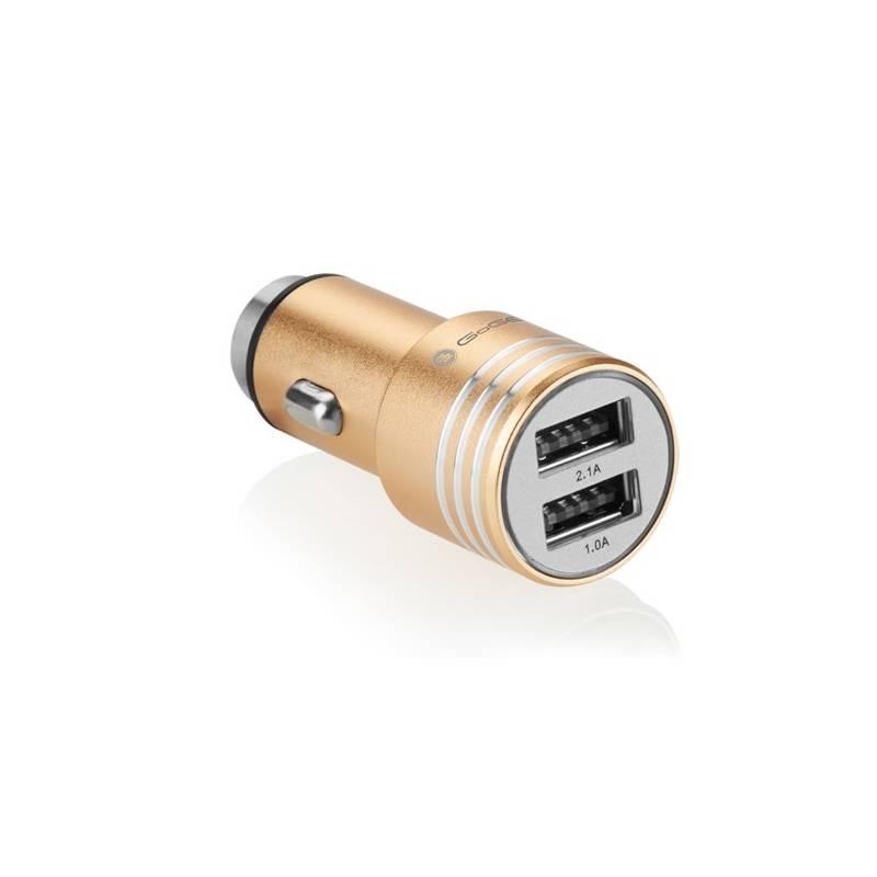 Adaptér do auta GoGEN kovový bezpečnostní hrot, 2x USB (CHH25G) zlatý