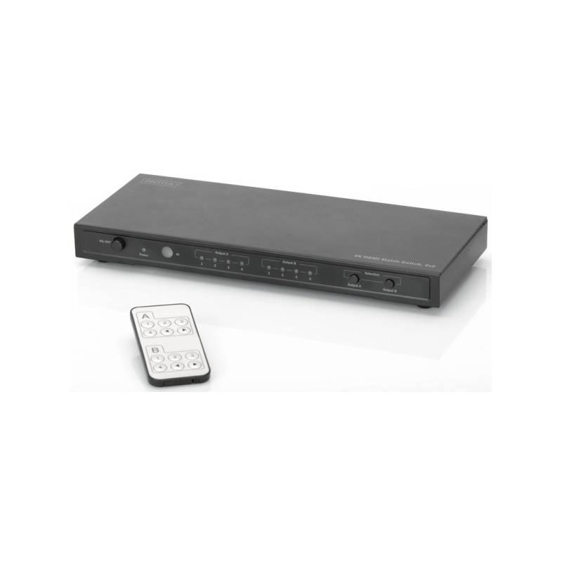 HDMI prepínač Digitus 4x2, maticový, podpora 4K + dálkové ovládání (DS-50304) čierny