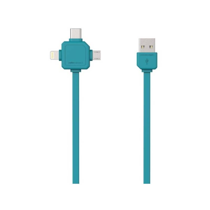 Kábel Powercube USB/micro USB + Lightning + USB-C, 1,5m (8719186003959) modrý