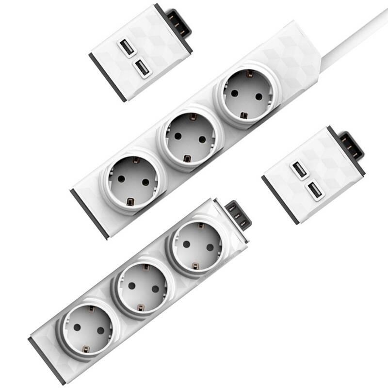 Kábel predlžovací Powercube PowerStrip Modular Switch 1,5 m + Zásuvkový modul + 2x USB modul biely
