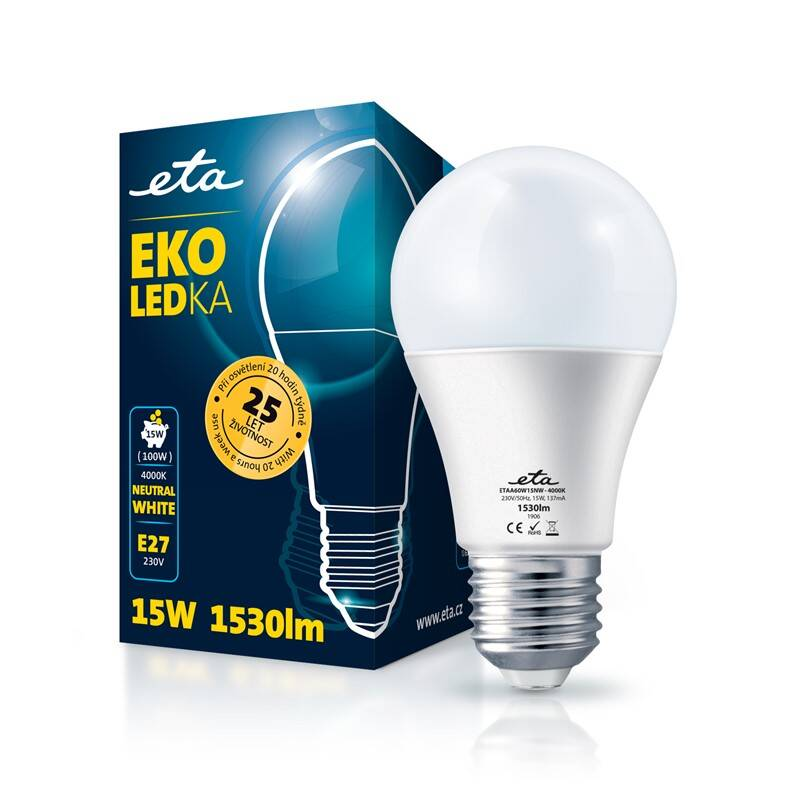 LED žiarovka ETA EKO LEDka klasik 15W, E27, neutrálna biela (A65W15NW)