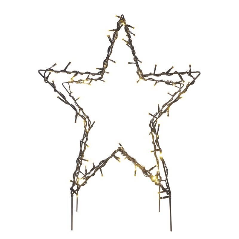 LED dekorace EMOS 90 LED vánoční hvězda kovová, 56 cm, venkovní i vnitřní, teplá bílá (DCZW06)