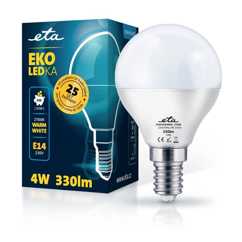 LED žiarovka ETA EKO LEDka mini globe 4W, E14, teplá biela (P45W4WW)