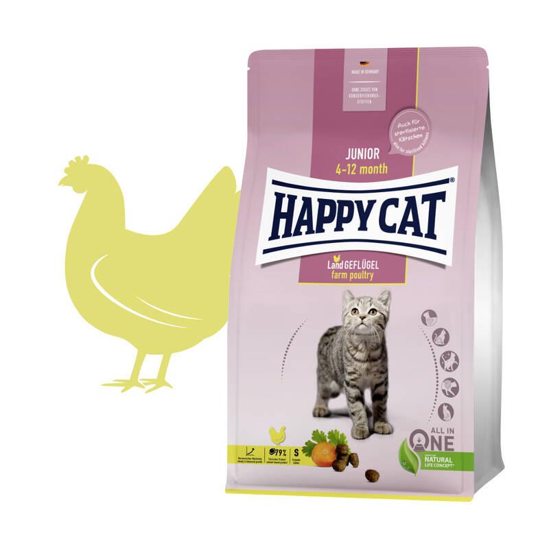 Granuly HAPPY CAT Junior Land Geflügel / Vidiecka hydina 10 kg + Doprava zadarmo