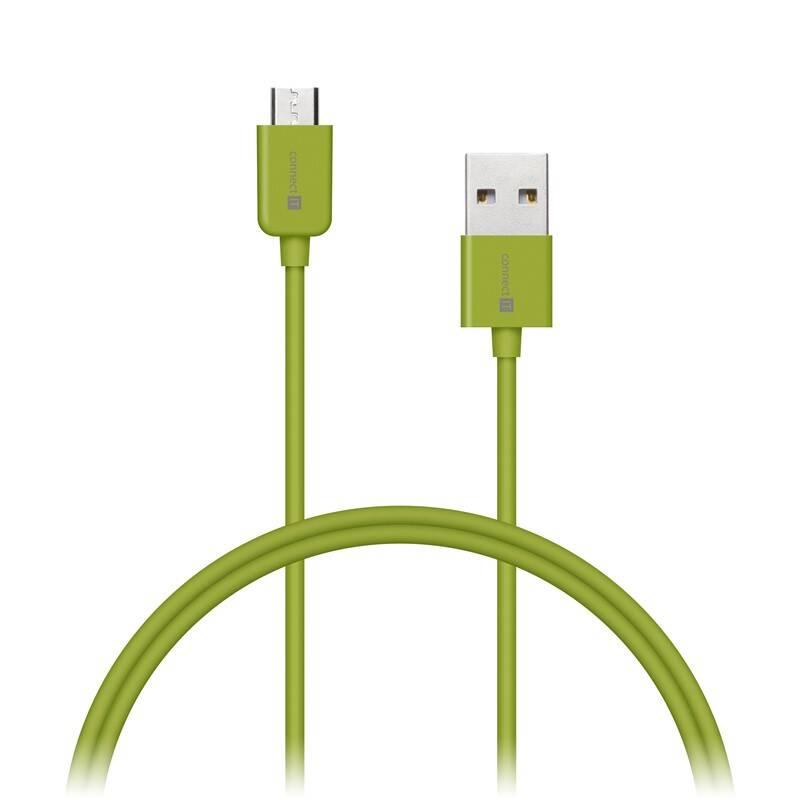 Kábel Connect IT Wirez USB/micro USB, 1m (CI-571) zelený
