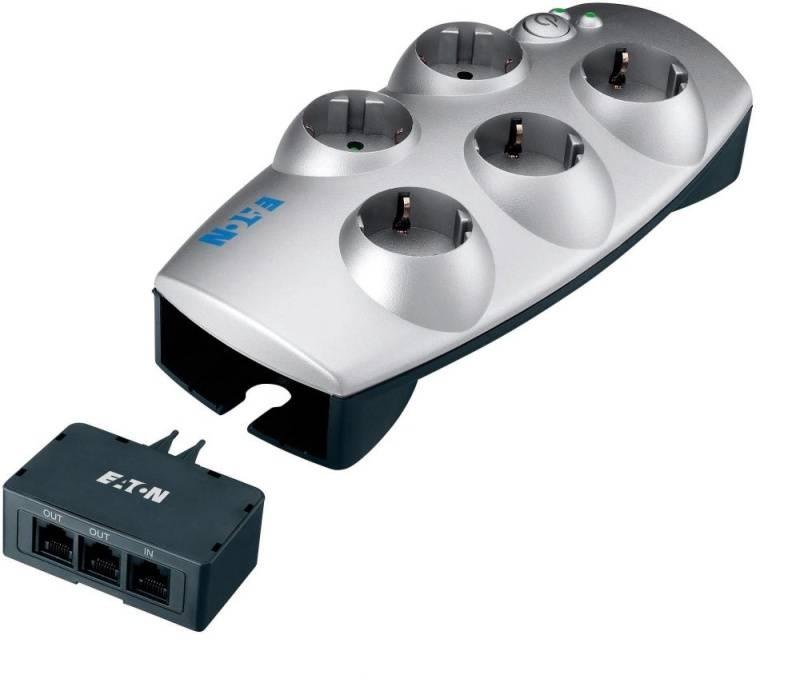Prepäťová ochrana Eaton Protection Box Tel+TV, 5x zásuvka, 1,8m (446981) strieborná