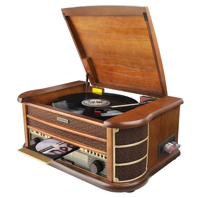 Gramofón Hyundai Retro RTCC 513 RIP drevený + Doprava zadarmo