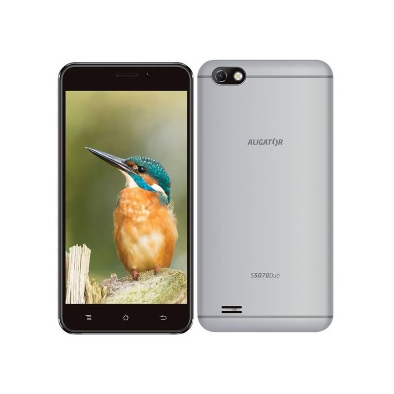 Mobilný telefón Aligator S5070 Dual SIM (AS5070SR) strieborný