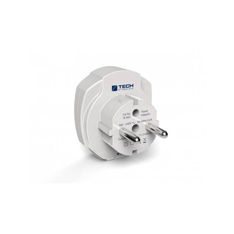Cestovný adaptér TECH TBU-969 pro EU, 2x USB biely
