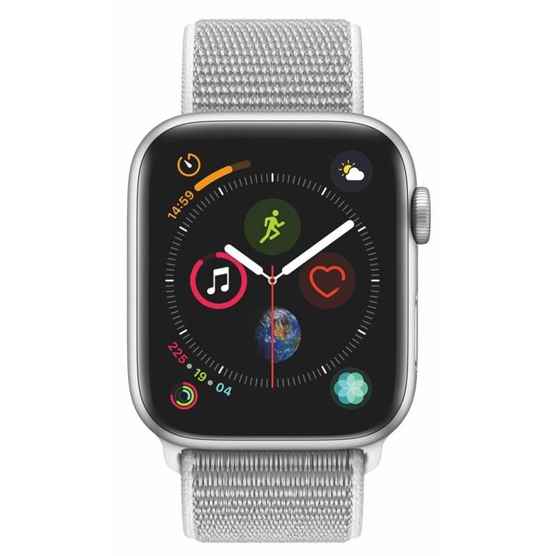 Chytré hodinky Apple Watch Series 4 Watch Series 4 GPS 44mm pouzdro ze stříbrného hliníku - mušlově bílý provlékací sportovní řemínek (MU6C2HC/A) + Doprava zadarmo