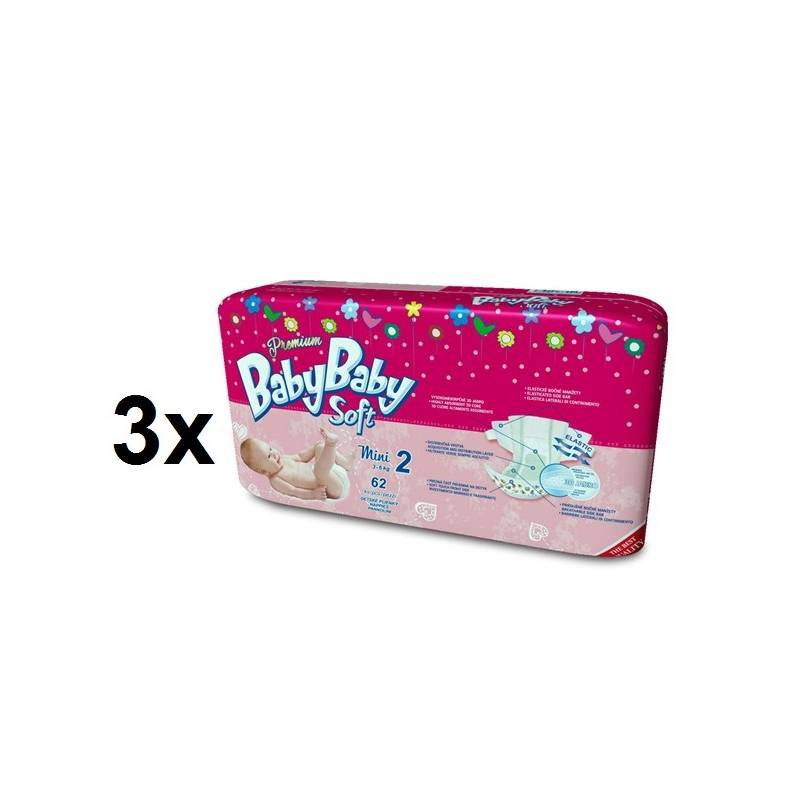 Plienky BabyBaby Soft Premium MINI vel. 2, 3-6kg (186ks) ružové