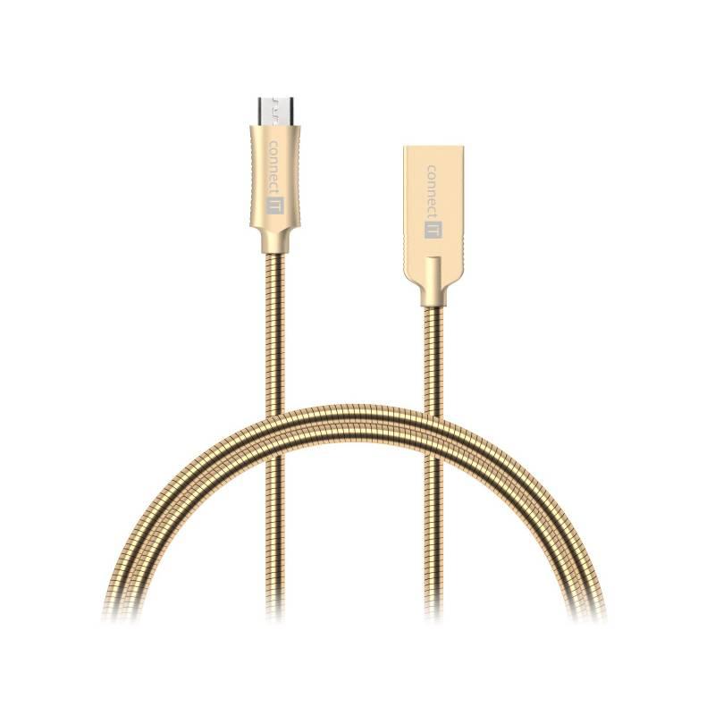 Kábel Connect IT Wirez Steel Knight MicroUSB, 1m, ocelový, opletený (CCA-3010-GD) zlatý