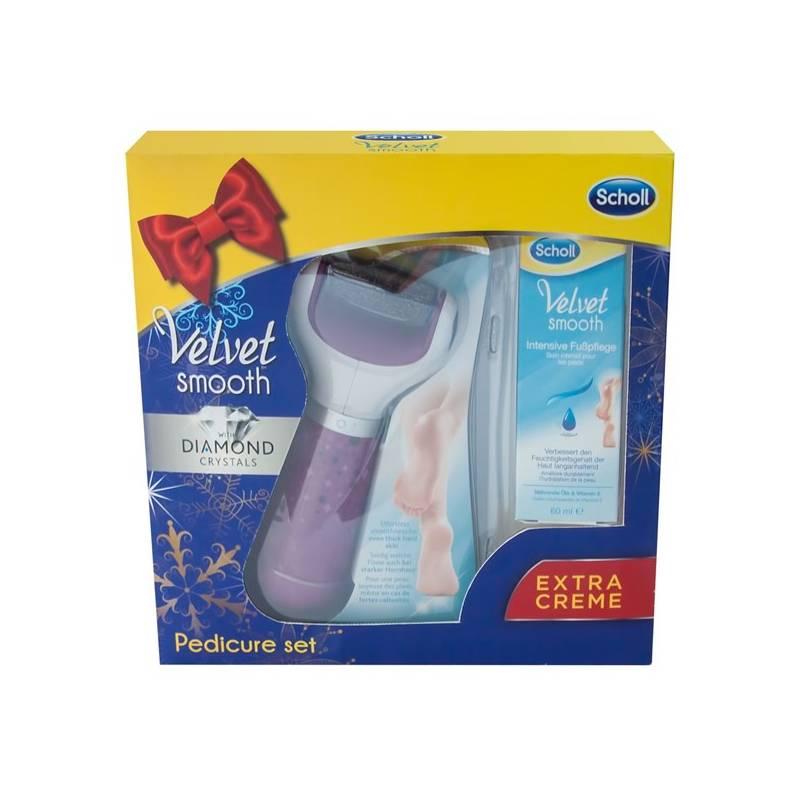 Elektrický pilník na chodidlá Scholl Velvet Smooth + noční maska 60 ml zdarma, dárková sada fialový