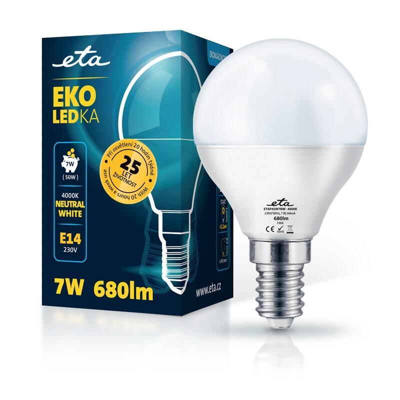 Žárovka LED ETA EKO LEDka mini globe 7W, E14, neutrální bílá (P45W7NW)
