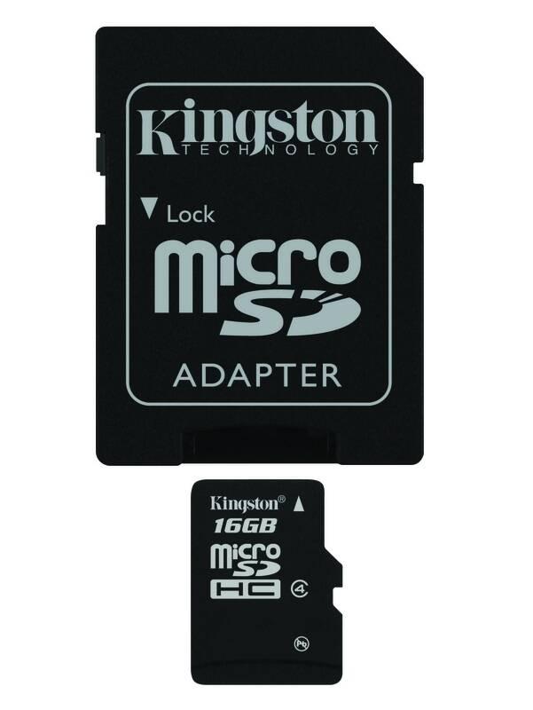 Pamäťová karta Kingston MicroSDHC 16GB Class 4 + adapter (SDC4/16GB)