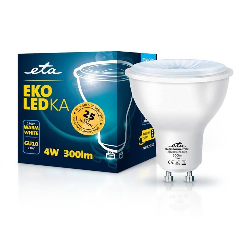 LED žiarovka ETA EKO LEDka bodová 4W, GU10, teplá biela (GU10W4WW)