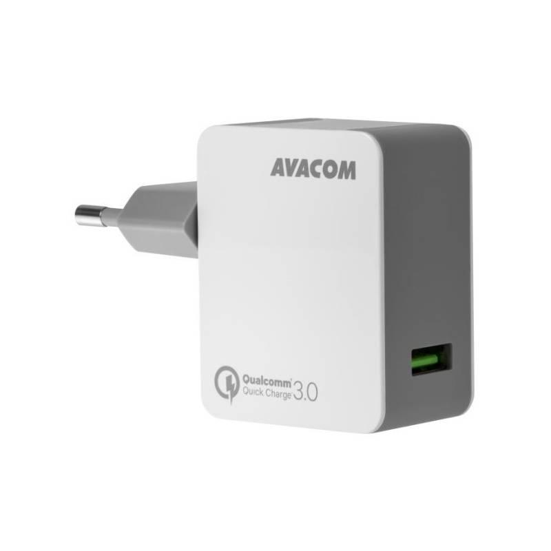 Nabíjačka do siete Avacom HomeMAX, 1x USB (3A), s funkcí rychlonabíjení QC 3.0 (NASN-QC1X-WW) biela
