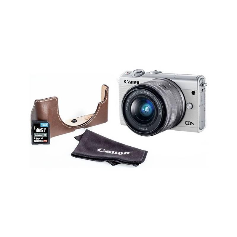 Digitálny fotoaparát Canon EOS M100 + EF-M 15-45mm + EH31FJ + 16GB (2210C095) biely + Doprava zadarmo