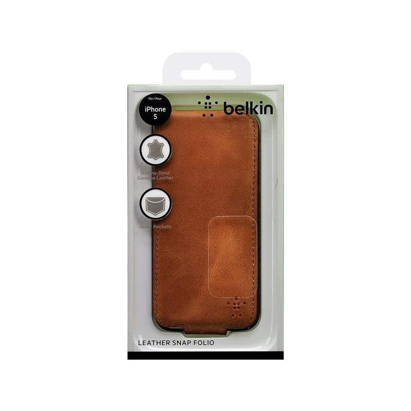 Púzdro na mobil Belkin Premium Folio pro iPhone 5 světle hnědé  (F8W236vfC00) hnedé 13fff6b8849