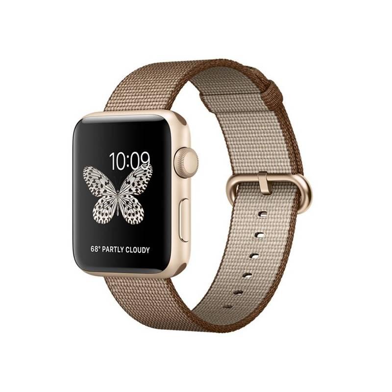 Chytré hodinky Apple Watch Series 2 42mm pouzdro ze zlatého hliníku – kávově/karamelově hnědý řemínek z tkaného nylonu (MNPP2CN/A) + Doprava zadarmo