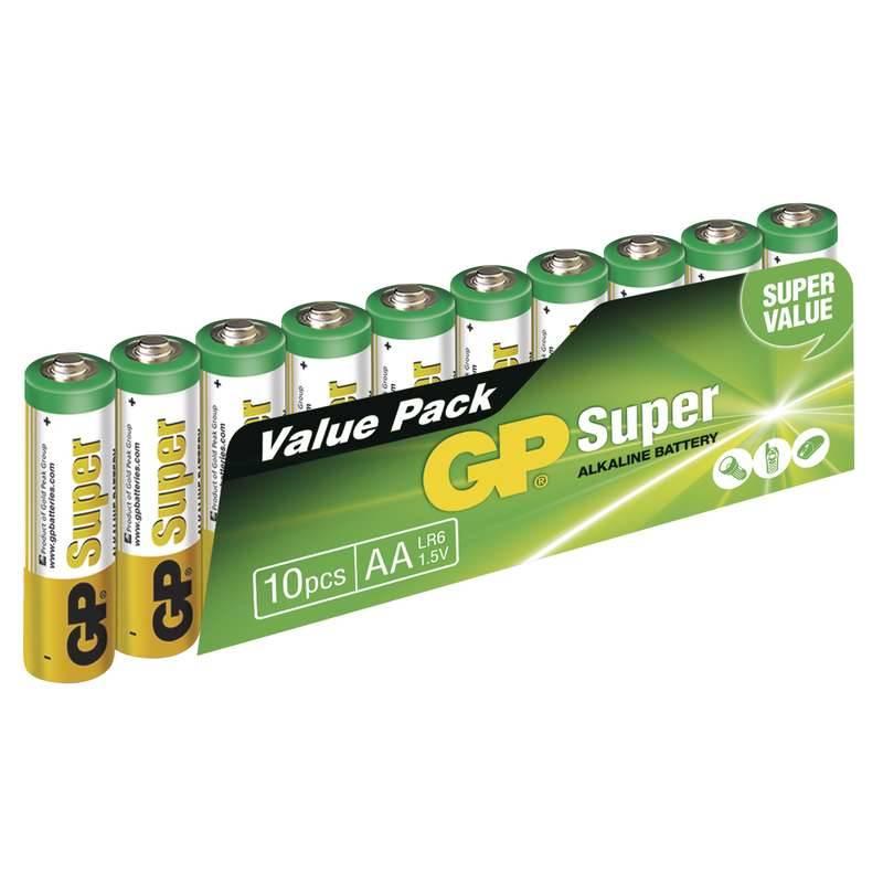 Baterie alkalická GP Super AA, LR06, fólie 10ks (GP 15A)