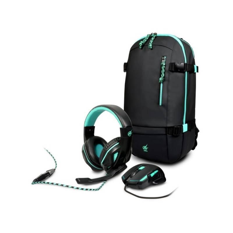 Set PORT DESIGNS AROKH 2 (batoh, myš, headset) (901751) čierny/tyrkysový